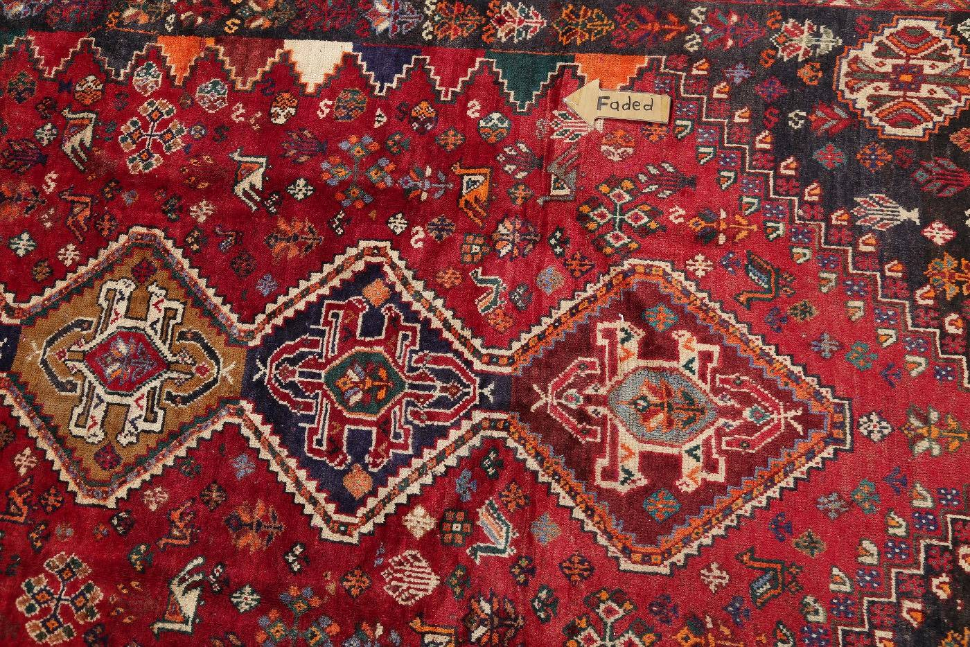 Antique Tribal Red Geometric Abadeh Persian Hand-Knotted 5x8 Wool Area Rug image 13