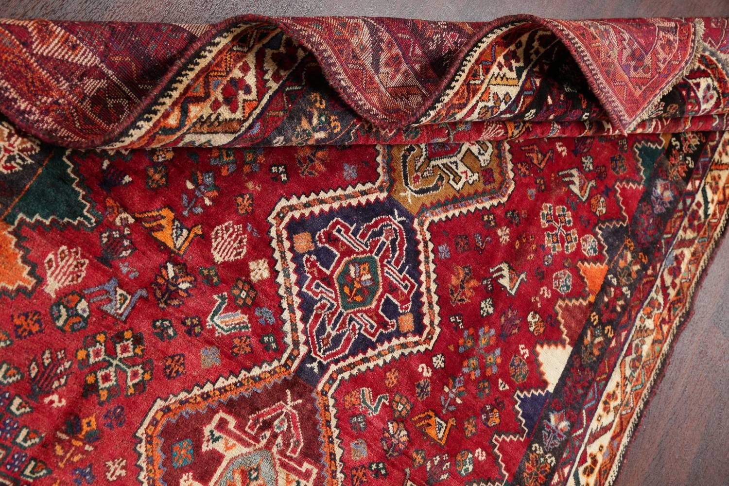 Antique Tribal Red Geometric Abadeh Persian Hand-Knotted 5x8 Wool Area Rug image 19