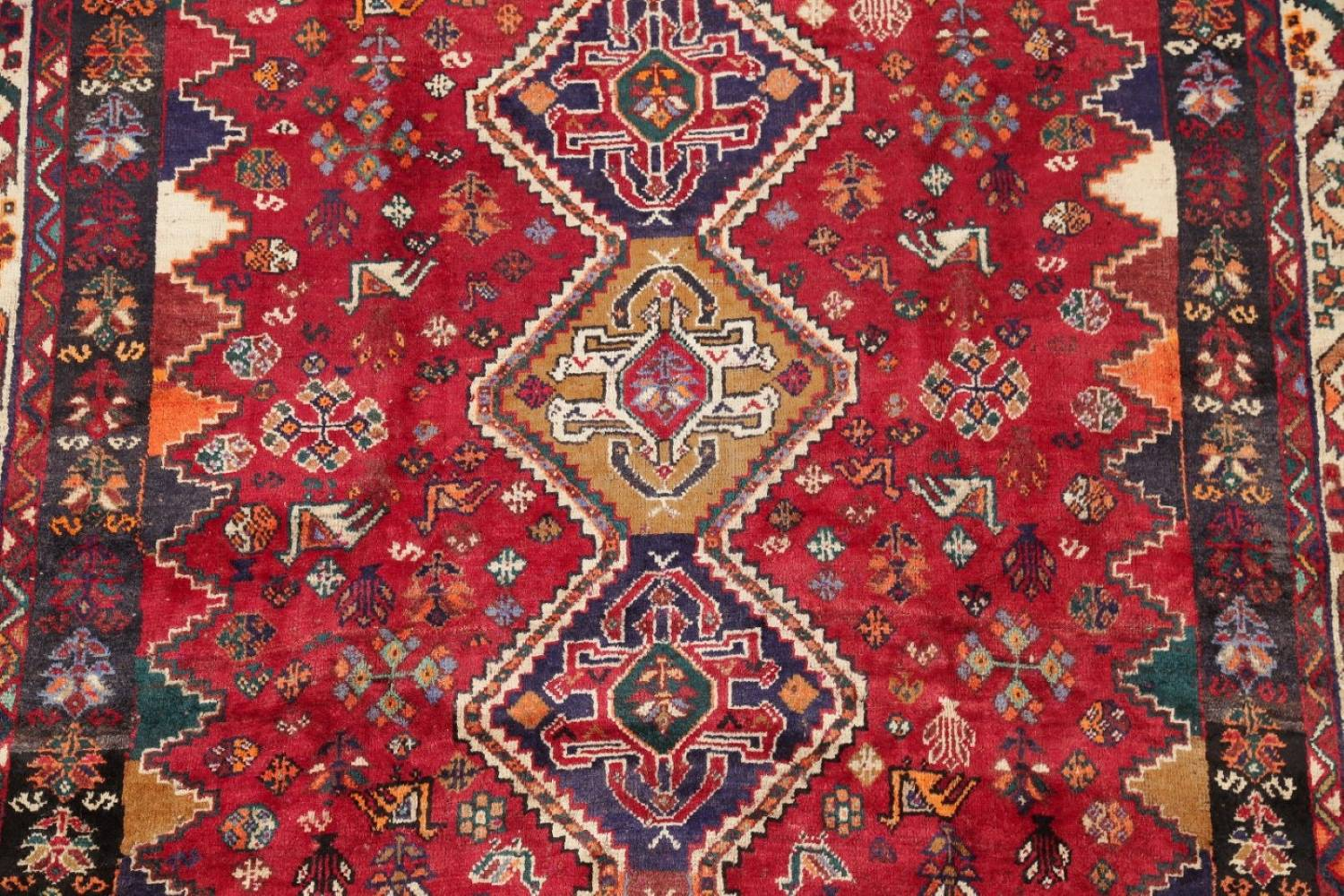 Antique Tribal Red Geometric Abadeh Persian Hand-Knotted 5x8 Wool Area Rug image 4