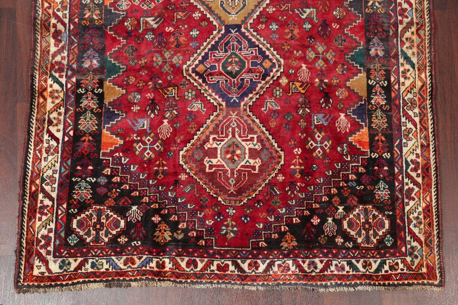 Antique Tribal Red Geometric Abadeh Persian Hand-Knotted 5x8 Wool Area Rug image 5