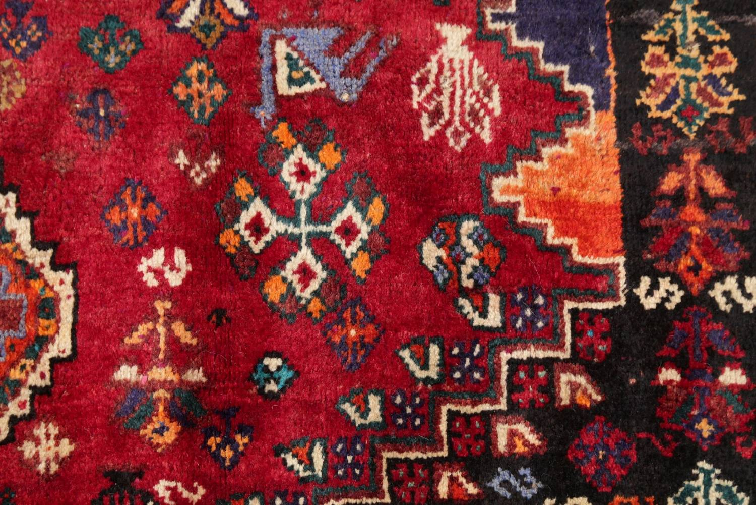 Antique Tribal Red Geometric Abadeh Persian Hand-Knotted 5x8 Wool Area Rug image 7