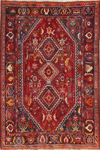 Antique Red Tribal Geometric Kashkoli Persian Hand-Knotted 5x8 Wool Area Rug
