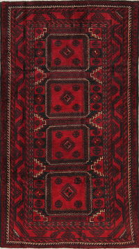 One-of-a-Kind Red Geometric Balouch Persian Hand-Knotted 4x8 Wool Runner Rug