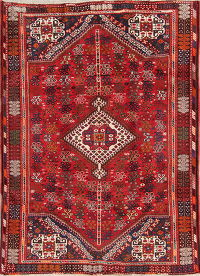 Geometric Tribal Shiraz Persian Hand-Knotted 6x8 Wool Area Rug
