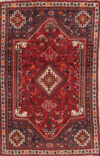Tribal Geometric Shiraz Persian Hand-Knotted 6x8 Area Rug