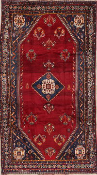 Antique Vegetable Dye Geometric Lori Qashqai Persian 6x10 Wool Area Rug