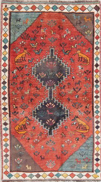 Orange Tribal Gabbeh Persian Hand-Knotted 4x7 Wool Area Rug
