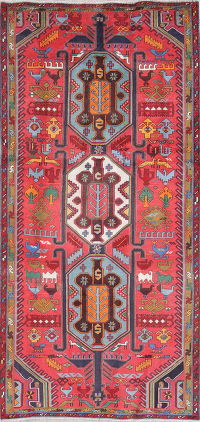 One-of-a-Kind Ruby Red Tribal Ardebil Persian Hand-Knotted 5x10 Wool Runner Rug
