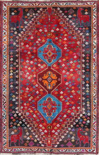 Animal Pictorial Red Geometric Shiraz Persian Hand-Knotted 5x7 Wool Area Rug