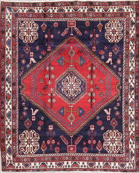 One-of-a-Kind Tribal Geometric Sirjan Persian Hand-Knotted 5x7 Wool Area Rug