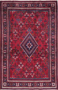 One-of-a-Kind Tribal South-West Joshaghan Persian Hand-Knotted 4x7 Wool Area Rug