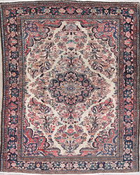 Antique Floral Borchelu Persian Hand-Knotted 5x7 Wool Area Rug