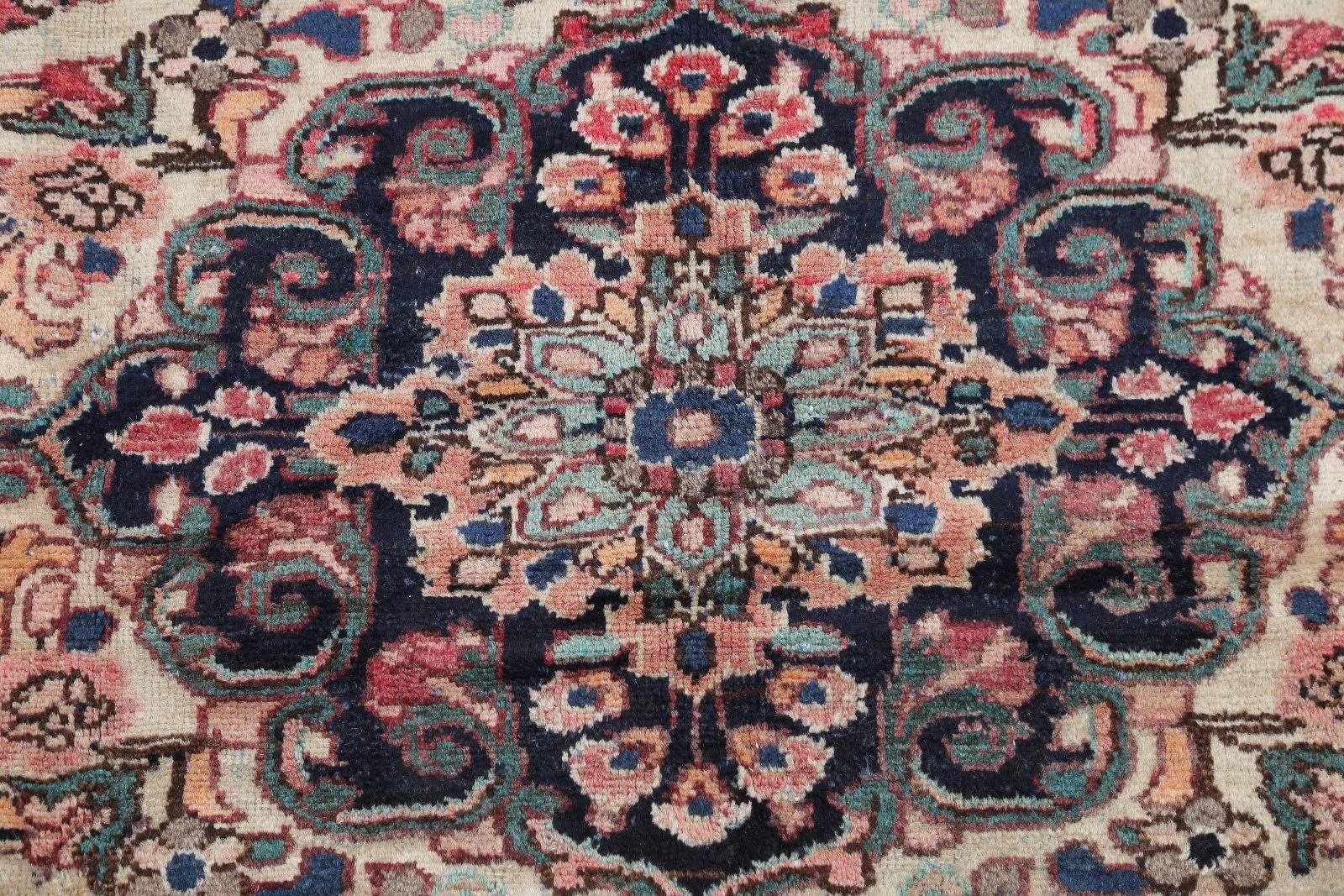 Antique Floral Hamedan Persian Hand-Knotted 5x7 Wool Ivory Area Rug