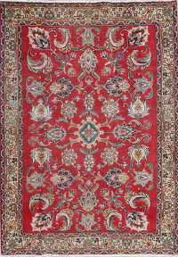 One-of-a-Kind All-Over Floral Tabriz Persian Hand-Knotted 4x6 Wool Area Rug
