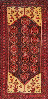 Tribal Red Geometric Balouch Persian Hand-Knotted 4x8 Wool Runner Rug