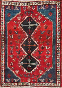 One-of-a-Kind Tribal Geometric Shiraz Persian Hand-Knotted 4x5 Wool Area Rug