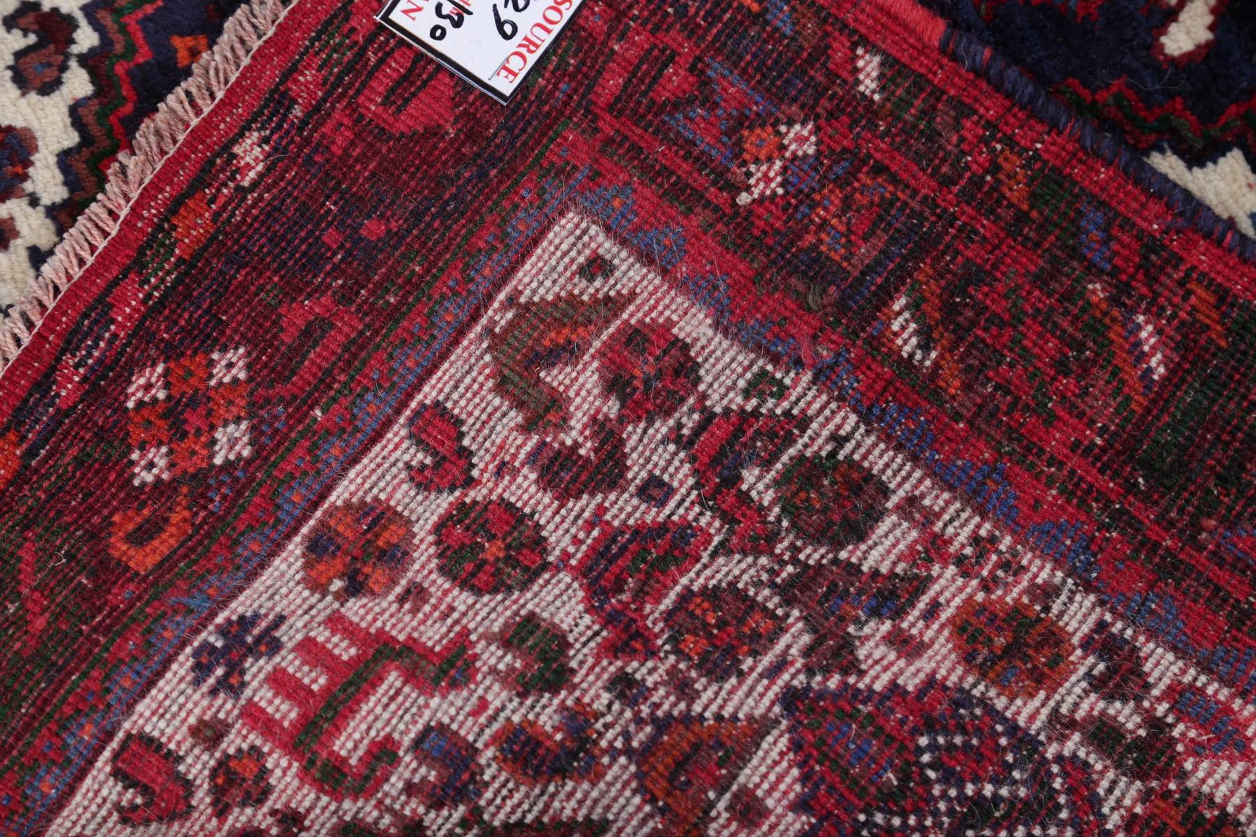 One-of-a-Kind Tribal Geometric Abadeh Persian Hand-Knotted 4x6 Wool Area Rug
