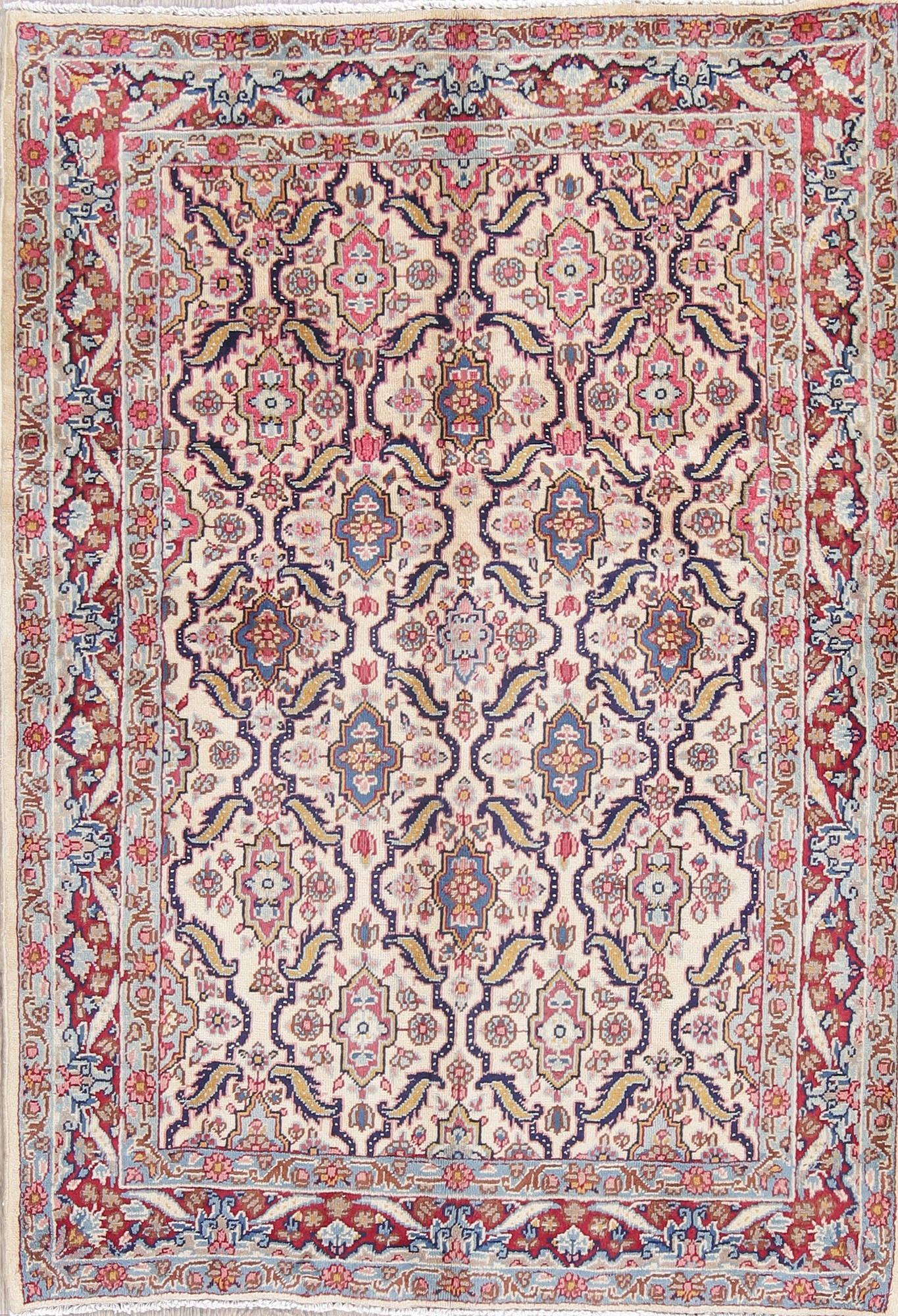 All-Over Ivory Floral Tabriz Persian Hand-Knotted 3x5 Wool Rug