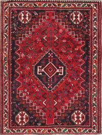 Tribal Red Geometric Shiraz Persian Hand-Knotted 4x5 Wool Area Rug