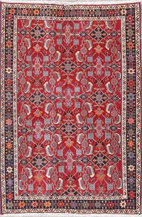 One-of-a-Kind Red Geometric Kashkoli Persian Hand-Knotted 3x5 Wool Rug