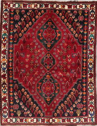 Tribal Geometric Abadeh Nafar Persian Hand-Knotted 4x5 Wool Area Rug