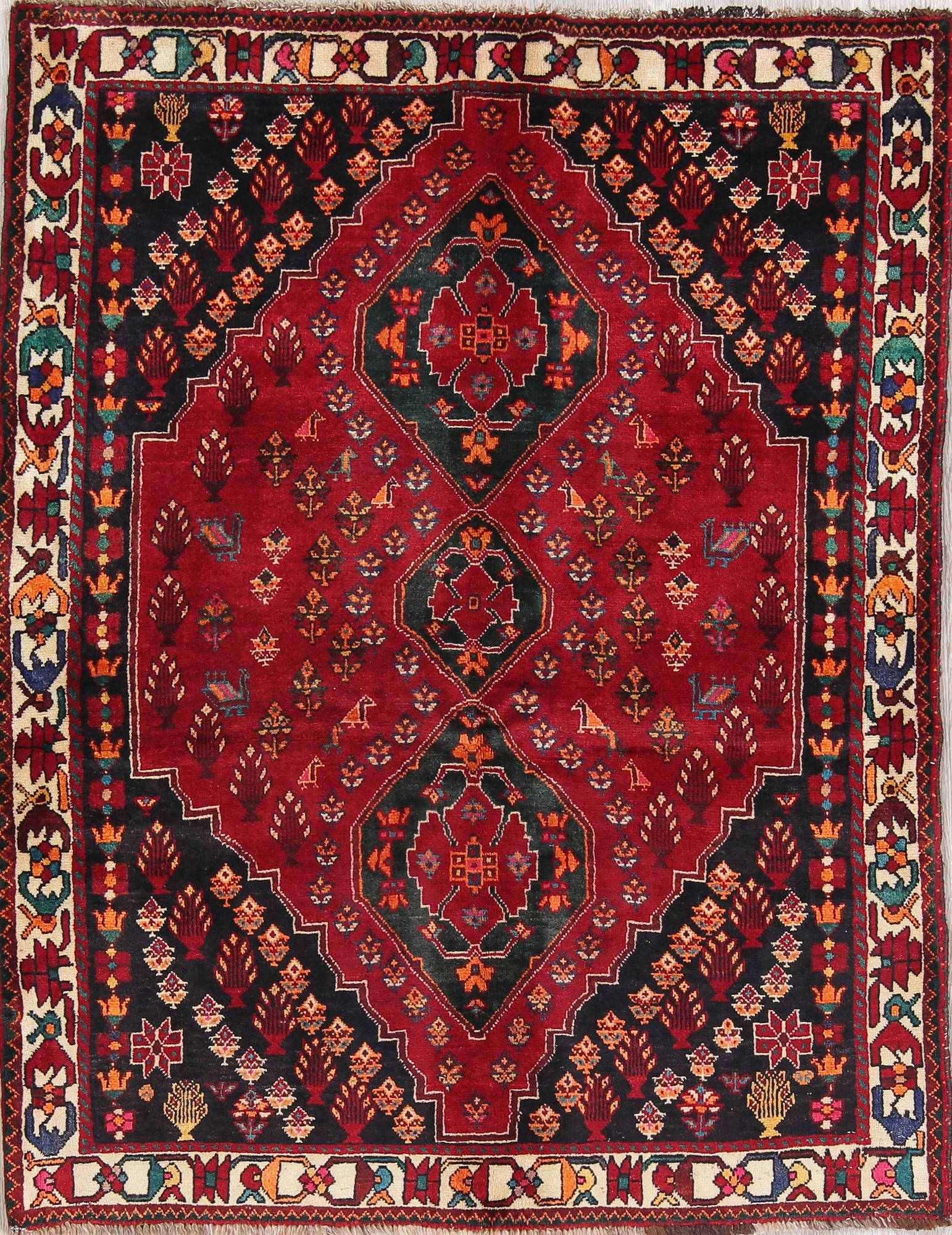 Tribal Geometric Abadeh Nafar Persian Hand Knotted 4x5 Wool Area Rug