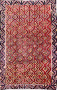One-of-a-Kind Red Geometric Shiraz Persian Hand-Knotted 5x8 Wool Area Rug