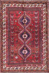 Antique Tribal Red Geometric Shiraz Persian Hand-Knotted 3x5 Wool Rug