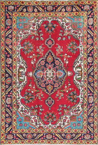 Geometric Red/Turquoise Tabriz Persian Hand-Knotted 4x6 Wool Area Rug