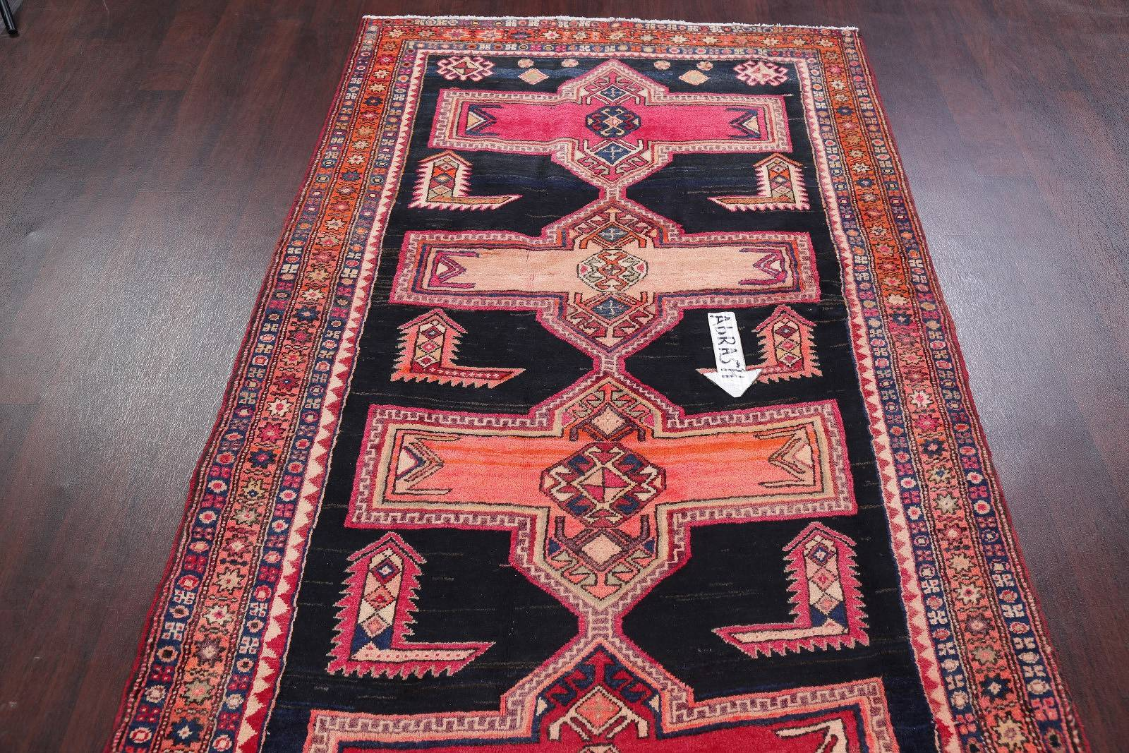 One-of-a-Kind Tribal Geometric Khoy Persian Hand-Knotted 5x10 Wool Runner Rug