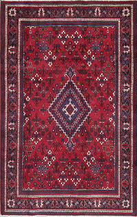 Tribal Red Geometric Joshaghan Persian Hand-Knotted 4x7 Wool Area Rug