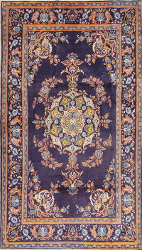 Purple Floral Kashan Persian Hand-Knotted 5x8 Wool Area Rug