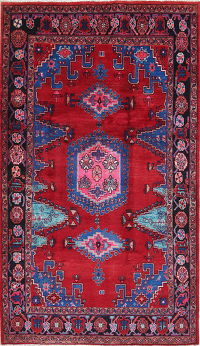 Red Geometric Viss Persian Hand-Knotted 5x8 Wool Area Rug
