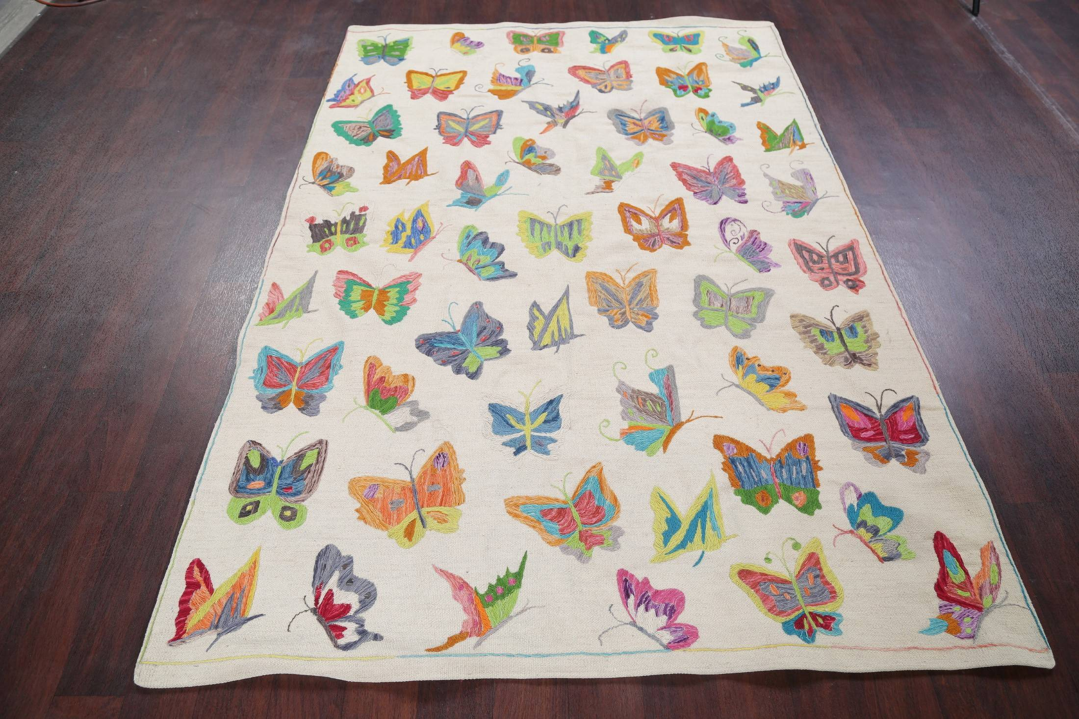 Butterfly Embroidered Kilim Pakistan Oriental 5x8 Wool Area Rug