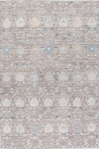 Silver Grey Oushak Turkish Hand-Knotted 7x10 Wool Area Rug