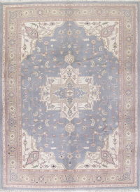Gray Blue Geometric Heriz Indian Oriental Hand-Knotted 9x12 Wool Area Rug
