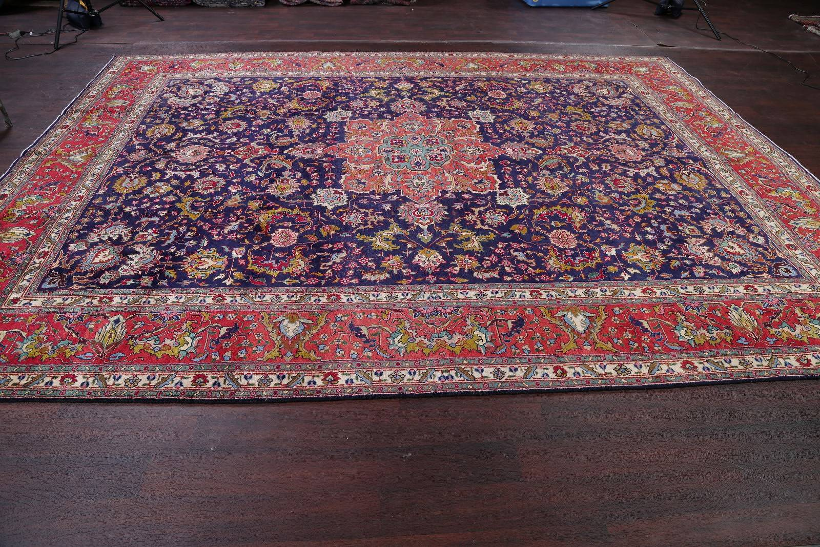 One-of-a-Kind Floral Navy Blue Tabriz Persian Hand-Knotted 10x13 Wool Area Rug