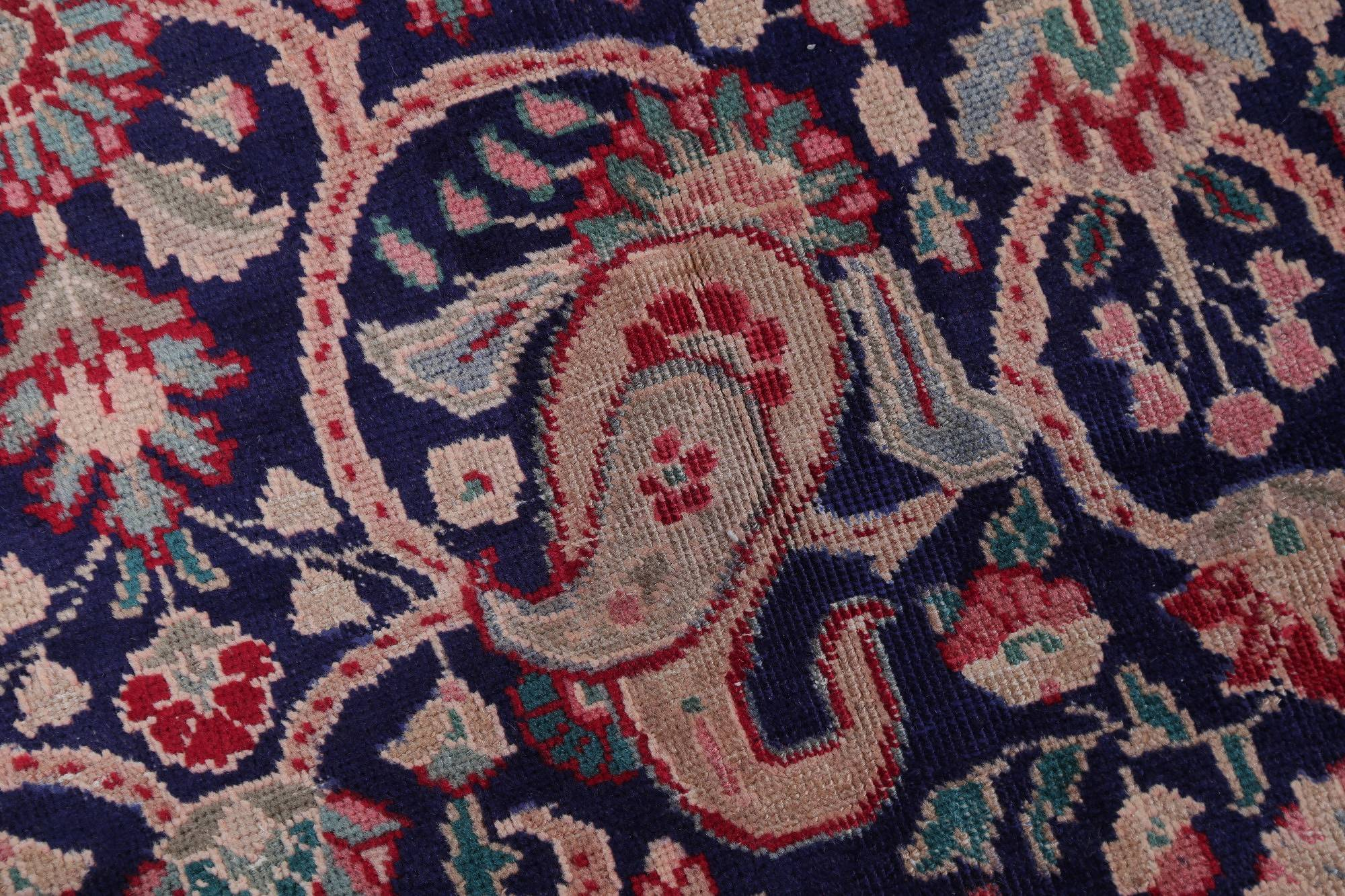 Paisley Blue Geometric Tabriz Persian Hand-Knotted 10x13 Wool Area Rug