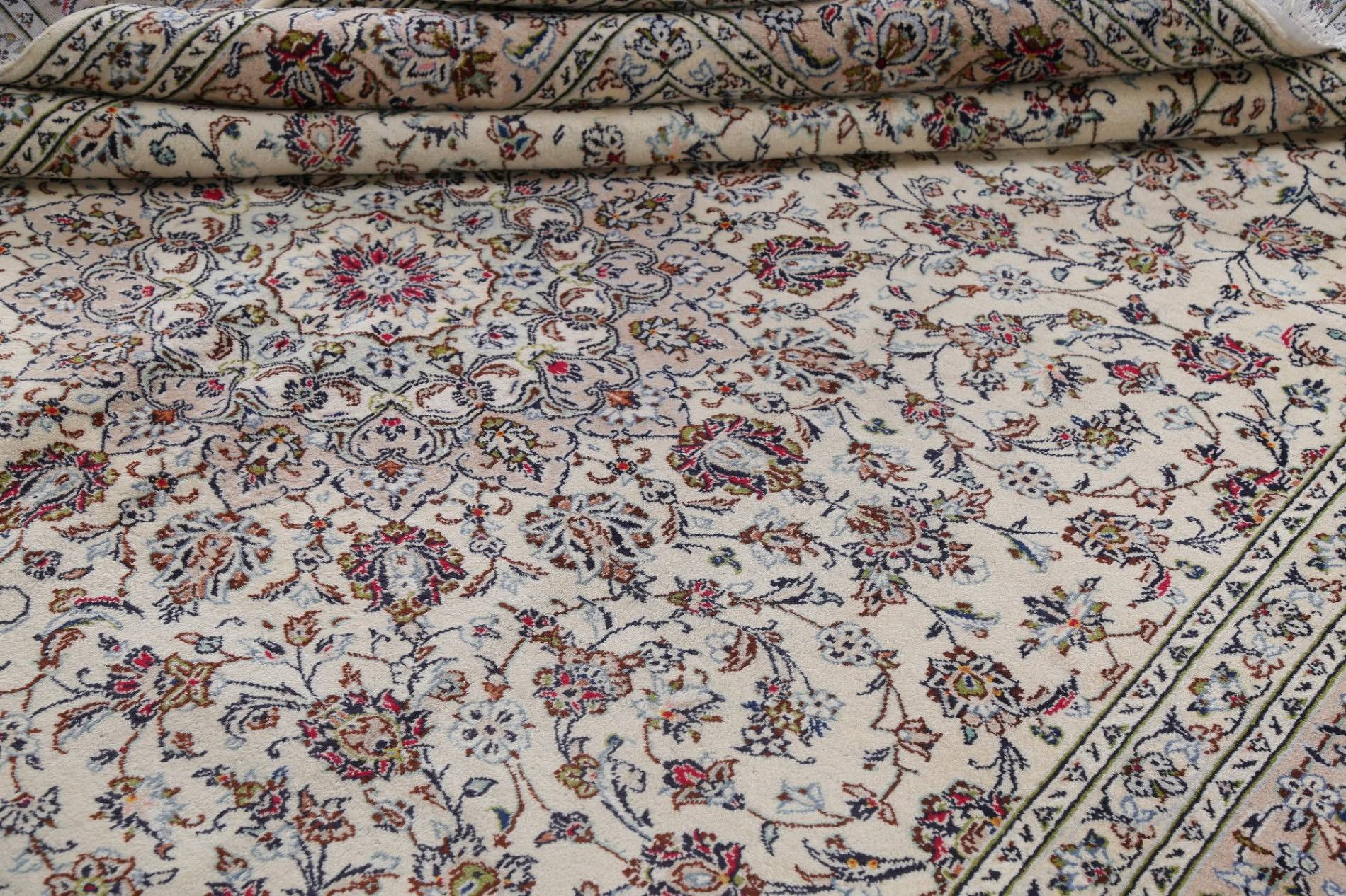 One-of-a-Kind Floral Ivory Kashan Persian Hand-Knotted 10x13 Wool Area Rug