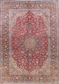 Antique Floral Red Kashan Persian Hand-Knotted 9x13 Wool Area Rug
