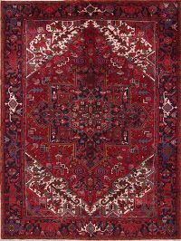 Vintage Geometric Heriz Persian Hand-Knotted 8x11 Red Wool Area Rug