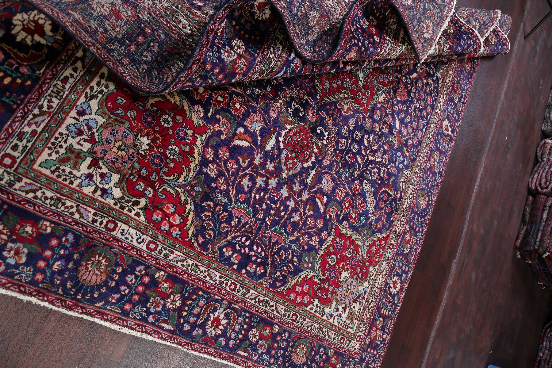 Floral Navy Blue Tabriz Persian Hand-Knotted 8x11 Wool Area Rug