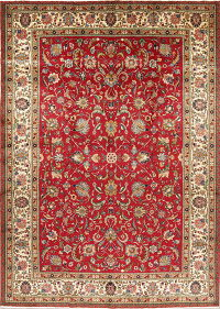 All-Over Floral Tabriz Persian Hand-Knotted 9x14 Red Wool Area Rug