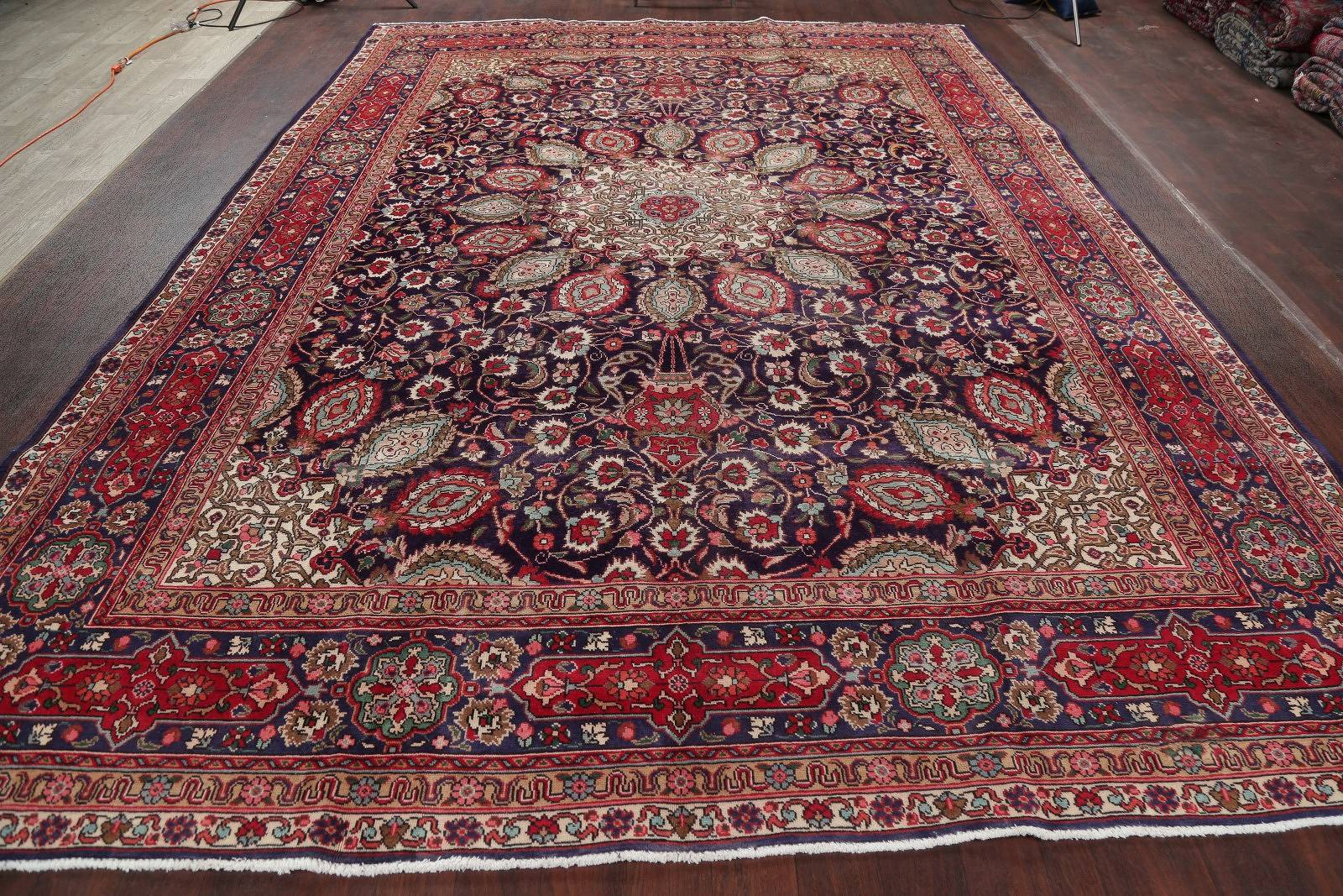 One-of-a-Kind Navy Blue Floral Tabriz Persian Hand-Knotted 9x13 Wool Area Rug