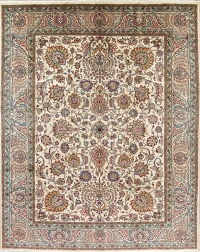 One-of-a-Kind Floral Ivory Tabriz Persian Hand-Knotted 9x12 Wool Area Rug