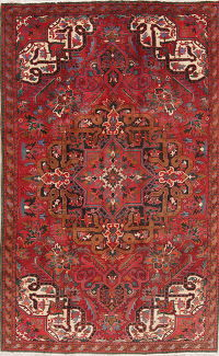Vintage Geometric Heriz Persian Hand-Knotted 6x10 Red Wool Area Rug