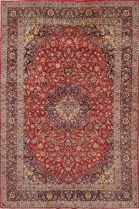 Traditional Floral Medallion Kashan Persian Hand-Knotted 10x15 Wool Rug