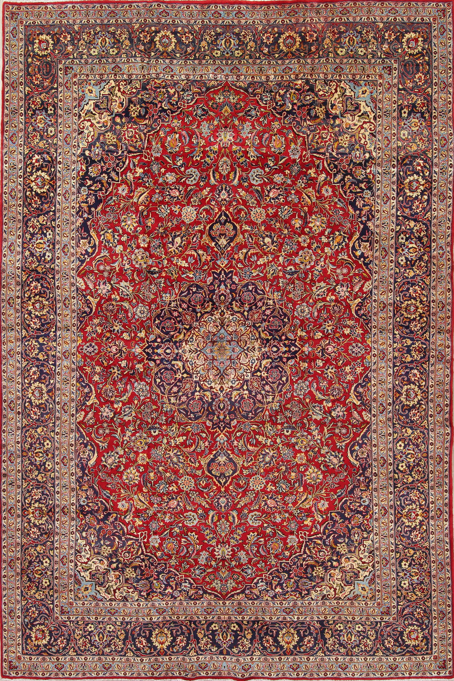 Traditional Floral Medallion Kashan Persian Hand Knotted 10x15 Wool Rug