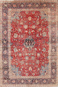 Traditional Floral Red Mahal Persian Hand-Knotted 8x12 Wool Area Rug