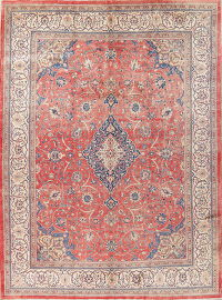 One-of-a-Kind Floral Red Mahal Persian Hand-Knotted 10x13 Wool Area Rug